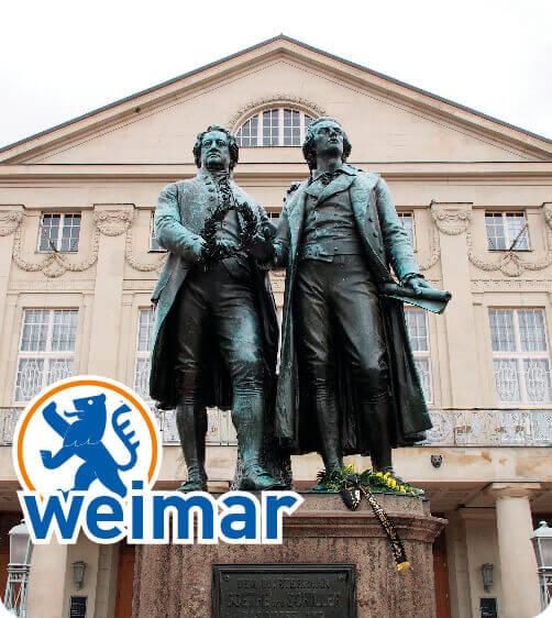 Das Goethe und Schiller Denkmal in Weimar