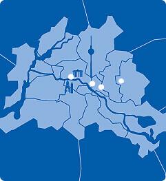 Lageplan von Berlin mit A&O Hostels