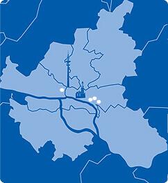 Lageplan von Hamburg mit A&O Hostels
