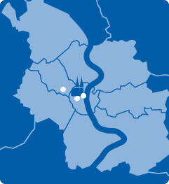Lageplan von Köln mit A&O Hostels