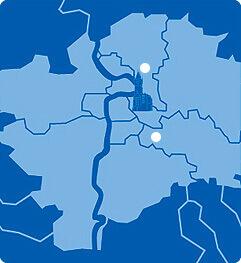 Lageplan von Prag mit A&O Hostels