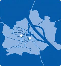 Lageplan von Wien mit A&O Hostels