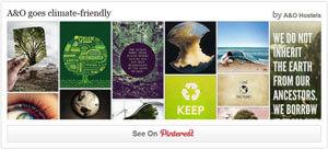 Typisches Pinterest-Board mit Anregungen für klimafreundliches Reisen und Handeln