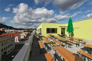Dachterrasse mit Bar und Outdoor-Bierbänken, wie hier im AO Graz HBF