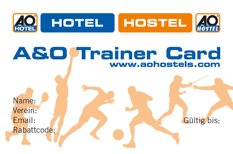 Die Vorderseite von A&O Trainer Card